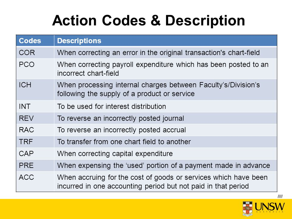 Action Codes & Description CodesDescriptions CORWhen correcting an error in the original transaction s chart-field PCOWhen correcting payroll expenditure which has been posted to an incorrect chart-field ICHWhen processing internal charges between Faculty's/Division's following the supply of a product or service INTTo be used for interest distribution REVTo reverse an incorrectly posted journal RACTo reverse an incorrectly posted accrual TRFTo transfer from one chart field to another CAPWhen correcting capital expenditure PREWhen expensing the 'used' portion of a payment made in advance ACCWhen accruing for the cost of goods or services which have been incurred in one accounting period but not paid in that period ////