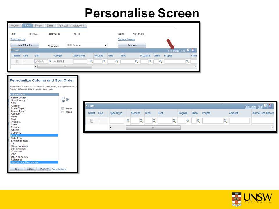 Personalise Screen