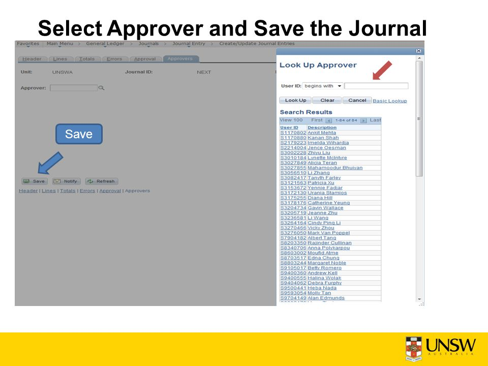 Select Approver and Save the Journal Save