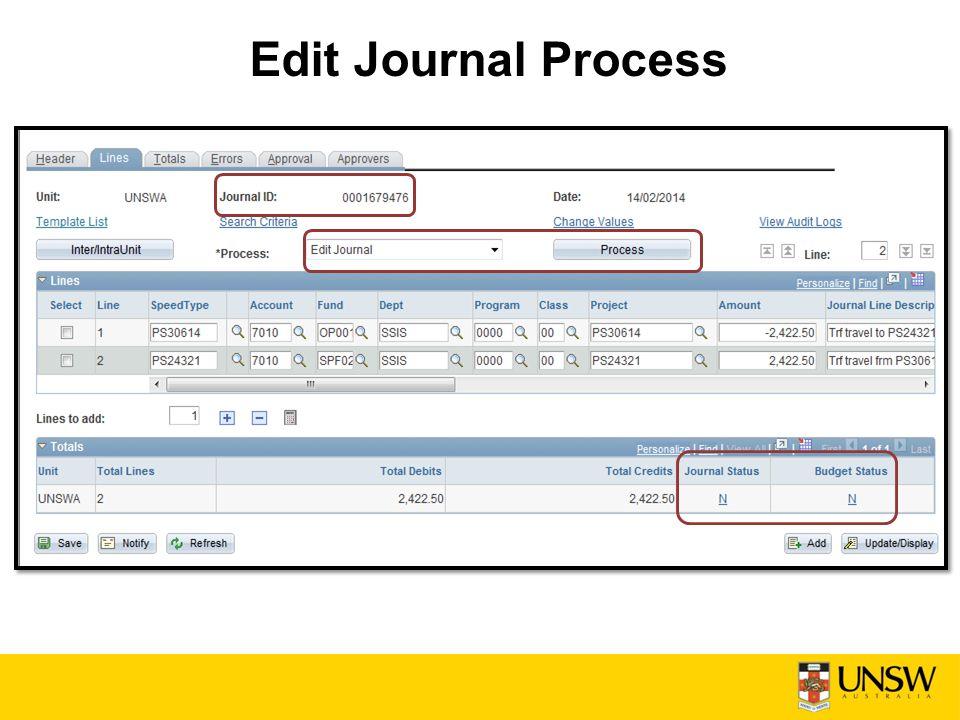 Edit Journal Process