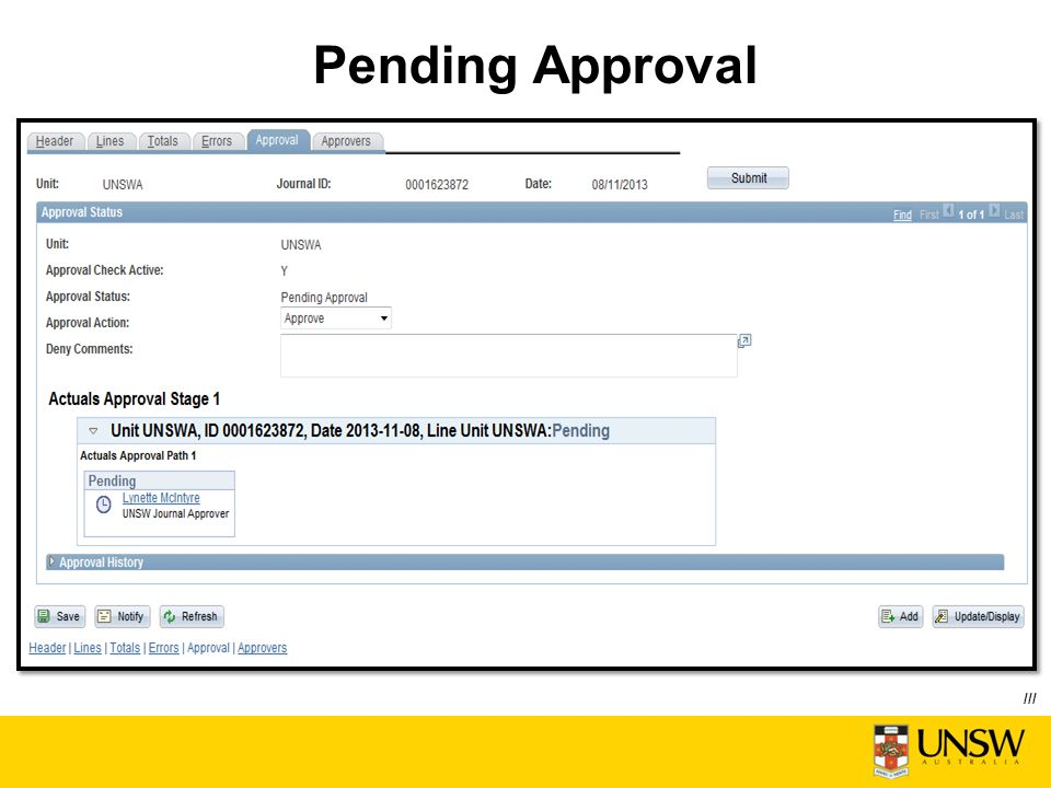 Pending Approval ///