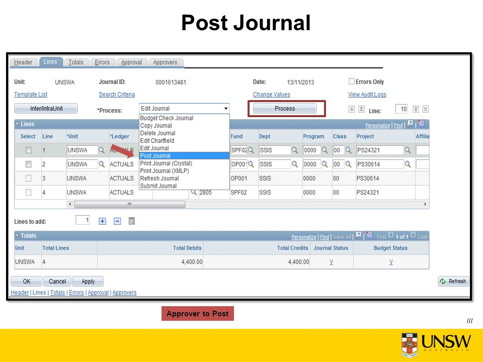Post Journal Approver to Post ///