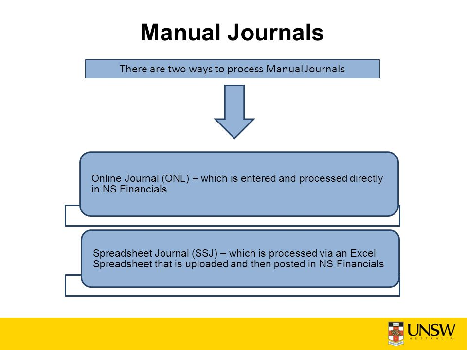 Manual Journals There are two ways to process Manual Journals Online Journal (ONL) – which is entered and processed directly in NS Financials Spreadsheet Journal (SSJ) – which is processed via an Excel Spreadsheet that is uploaded and then posted in NS Financials
