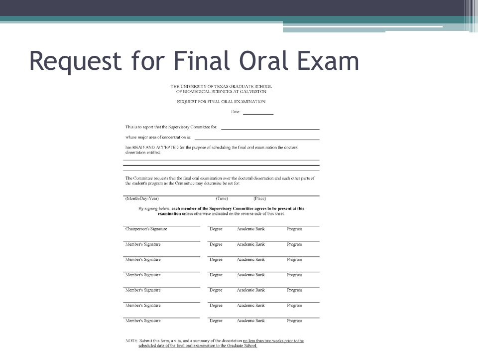Request for Final Oral Exam