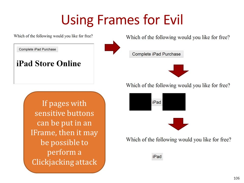 Using Frames for Evil 106 If pages with sensitive buttons can be put in an IFrame, then it may be possible to perform a Clickjacking attack