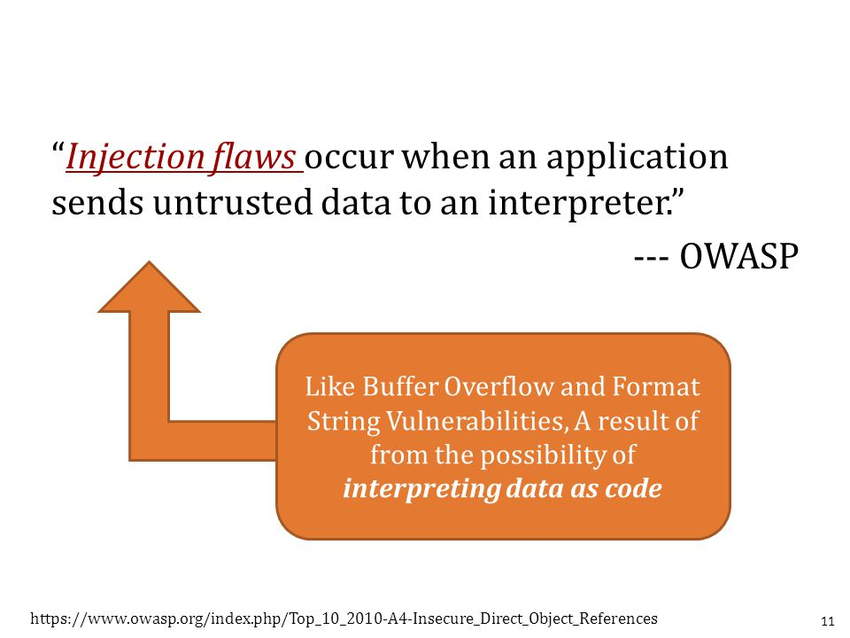 """Injection flaws occur when an application sends untrusted data to an interpreter."" --- OWASP 11 https://www.owasp.org/index.php/Top_10_2010-A4-Insecu"