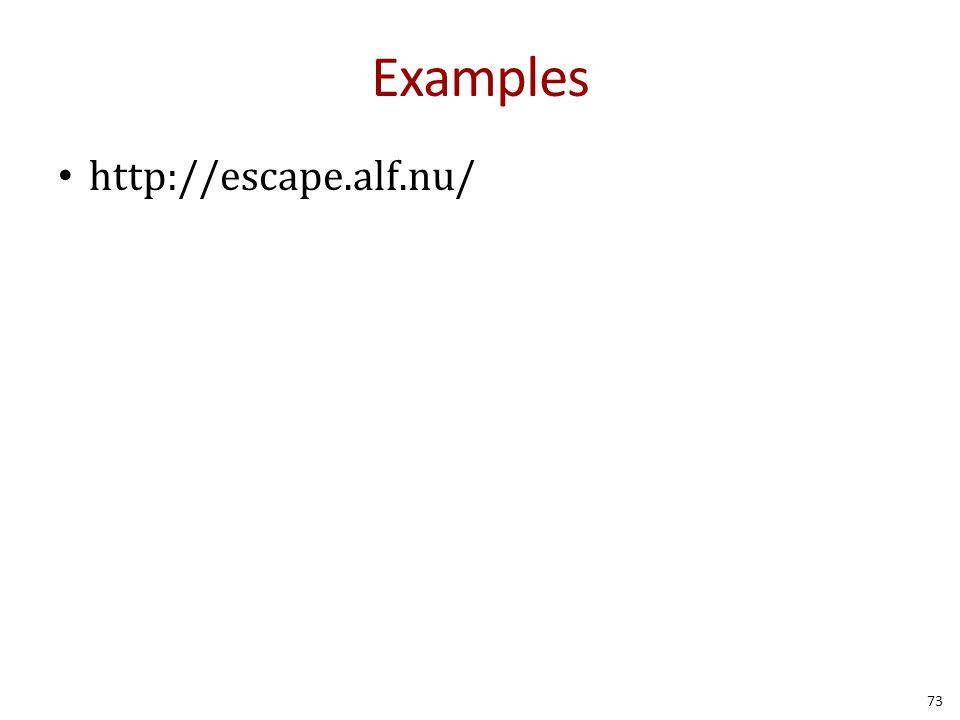 Examples http://escape.alf.nu/ 73