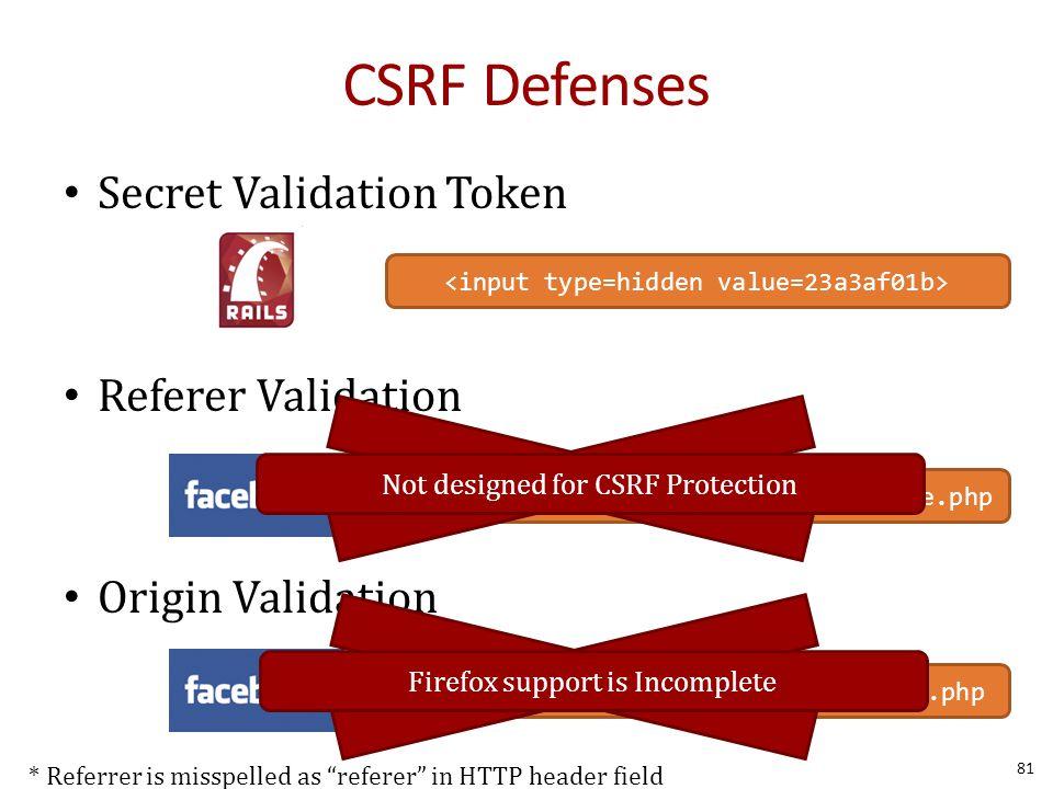 CSRF Defenses Secret Validation Token Referer Validation Origin Validation Referer: http://www.facebook.com/home.php * Referrer is misspelled as referer in HTTP header field Origin: http://www.facebook.com/home.php Not designed for CSRF Protection 81 Firefox support is Incomplete