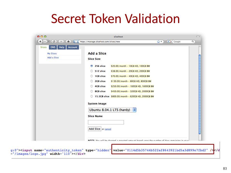 Secret Token Validation 83