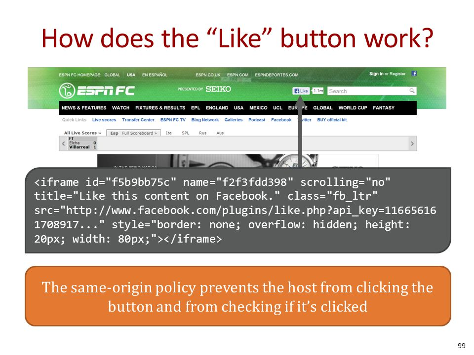 "99 How does the ""Like"" button work? The same-origin policy prevents the host from clicking the button and from checking if it's clicked"