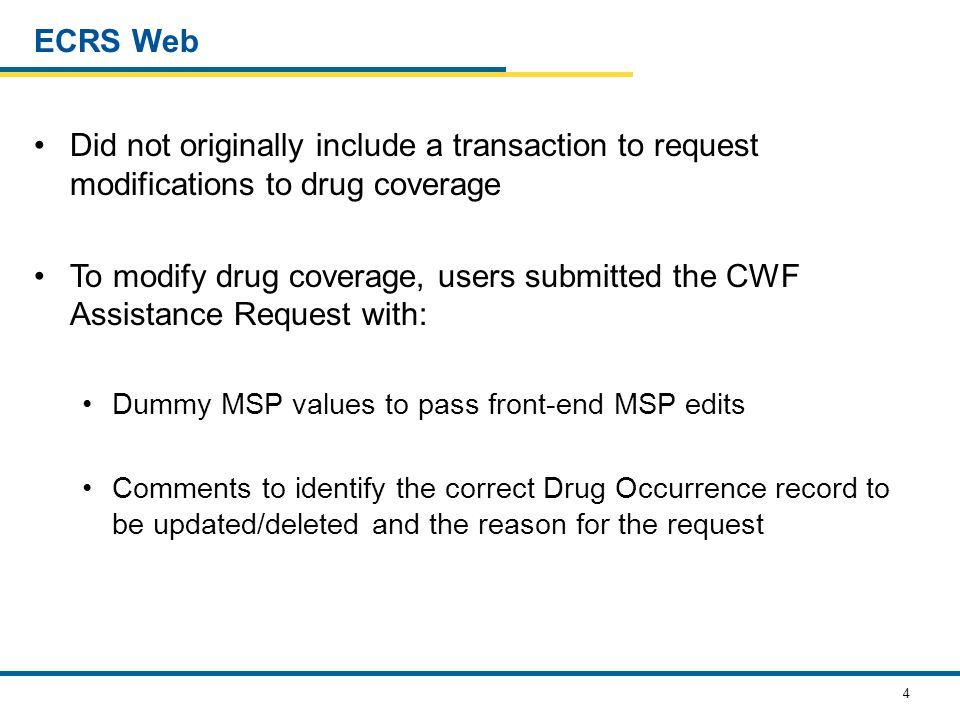 5 Prescription Drug Assistance Request Used to update/delete existing Drug Occurrences Provides easier, user-friendly interface Updates are entered into new data-entry Web pages