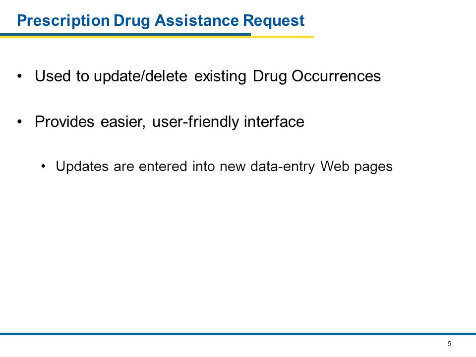 16 ECRS Web Enhancements MSP Occurrence termination/delete requests will be automatically applied to the linked Drug Occurrence CWF Assistance Request with Action 'TD' or 'DO' automatically applied to the linked Drug Occurrence as long as there are no reject errors Prescription Drug Assistance Request will not have to be submitted if the linked MSP Occurrence was deleted/terminated