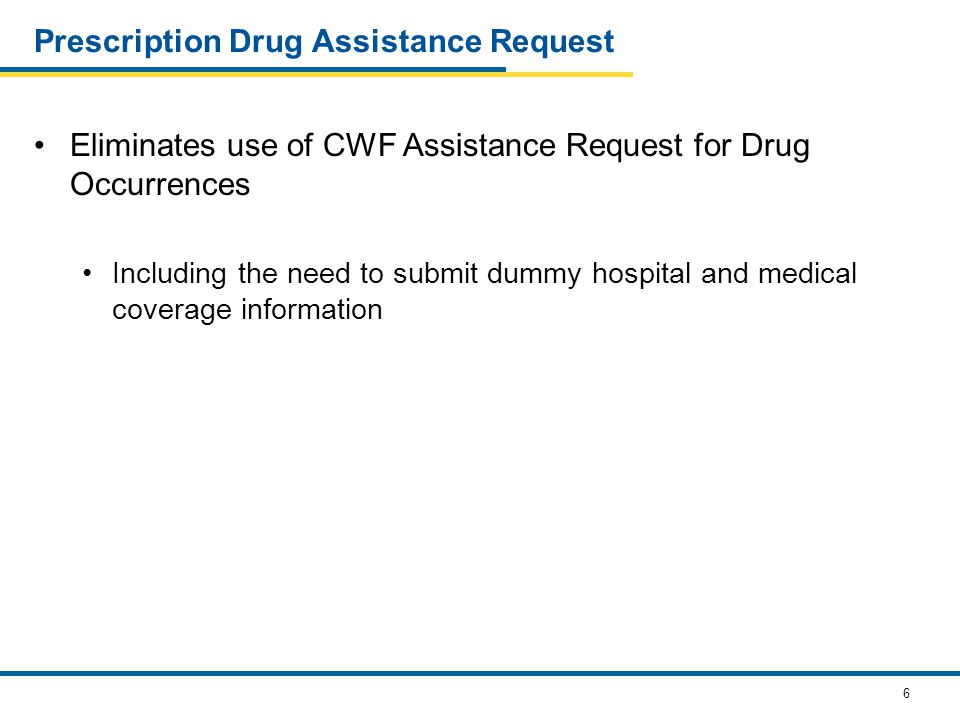 6 Prescription Drug Assistance Request Eliminates use of CWF Assistance Request for Drug Occurrences Including the need to submit dummy hospital and medical coverage information