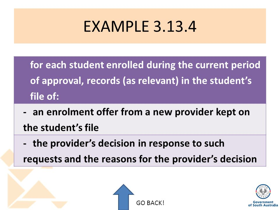 EXAMPLE 3.13.4 for each student enrolled during the current period of approval, records (as relevant) in the student's file of: -an enrolment offer from a new provider kept on the student's file -the provider's decision in response to such requests and the reasons for the provider's decision GO BACK!