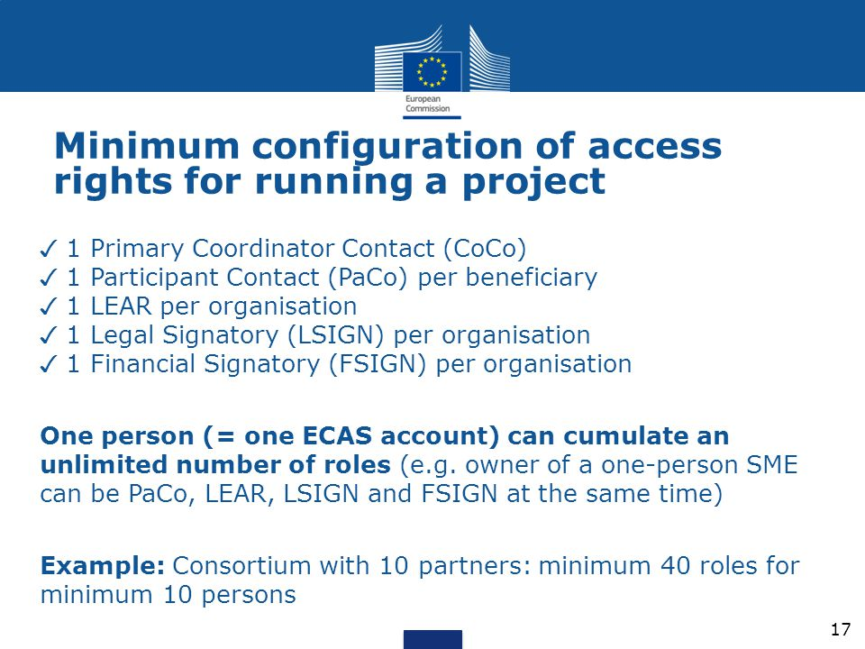 Minimum configuration of access rights for running a project 17 ✓ 1 Primary Coordinator Contact (CoCo) ✓ 1 Participant Contact (PaCo) per beneficiary