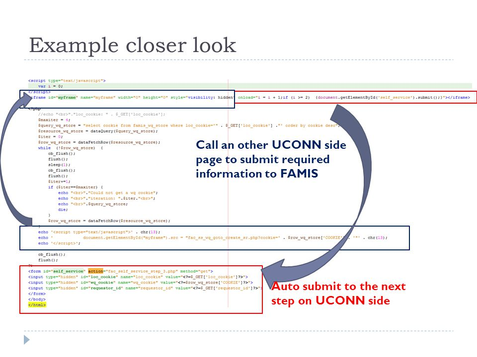 Example closer look Call an other UCONN side page to submit required information to FAMIS Auto submit to the next step on UCONN side
