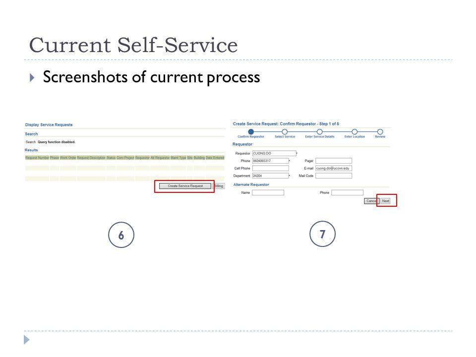 Current Self-Service  Screenshots of current process 6 7