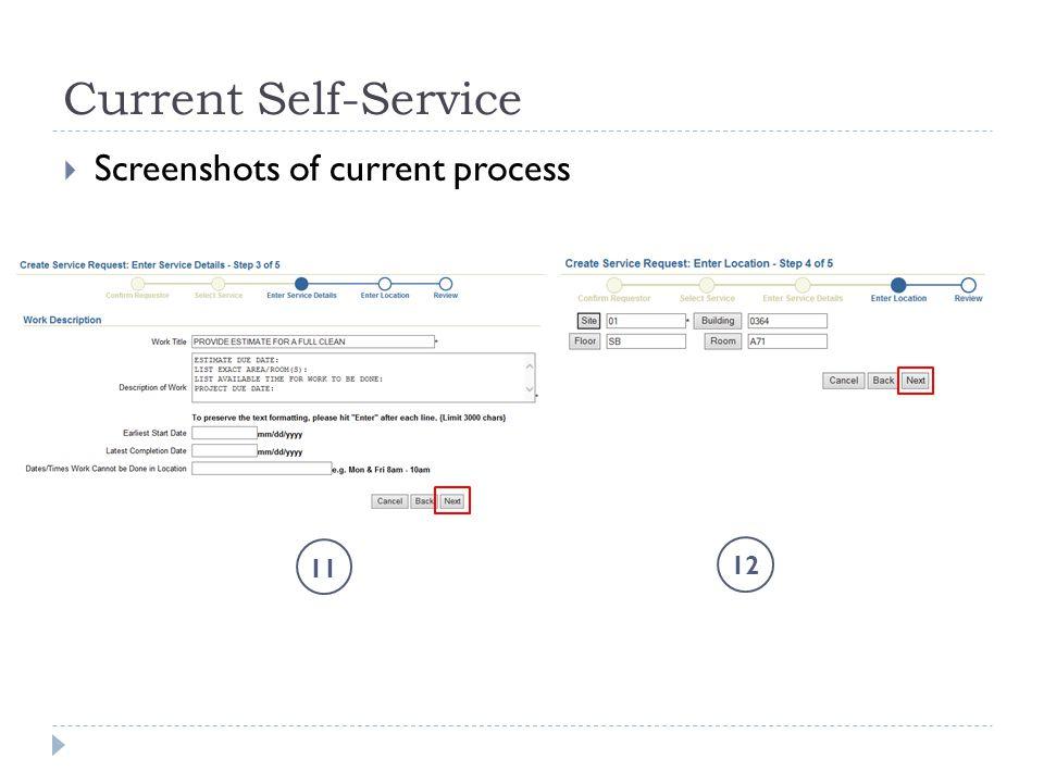 Current Self-Service  Screenshots of current process 11 12