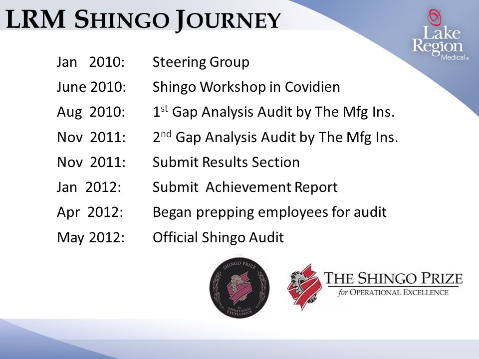 LRM S HINGO J OURNEY Jan 2010: Steering Group June 2010: Shingo Workshop in Covidien Aug 2010:1 st Gap Analysis Audit by The Mfg Ins.