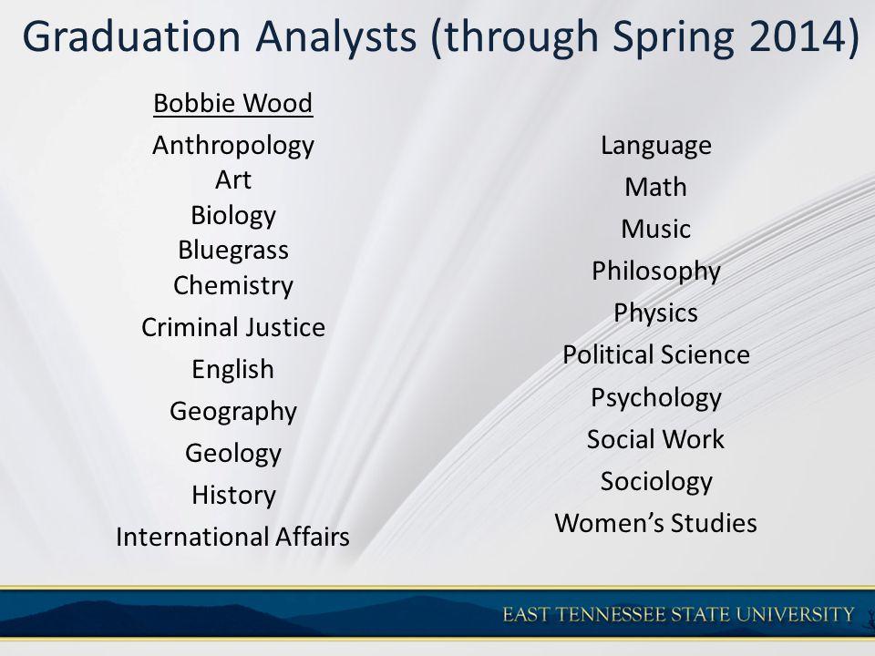 Graduation Analysts (through Spring 2014) Bobbie Wood Anthropology Art Biology Bluegrass Chemistry Criminal Justice English Geography Geology History