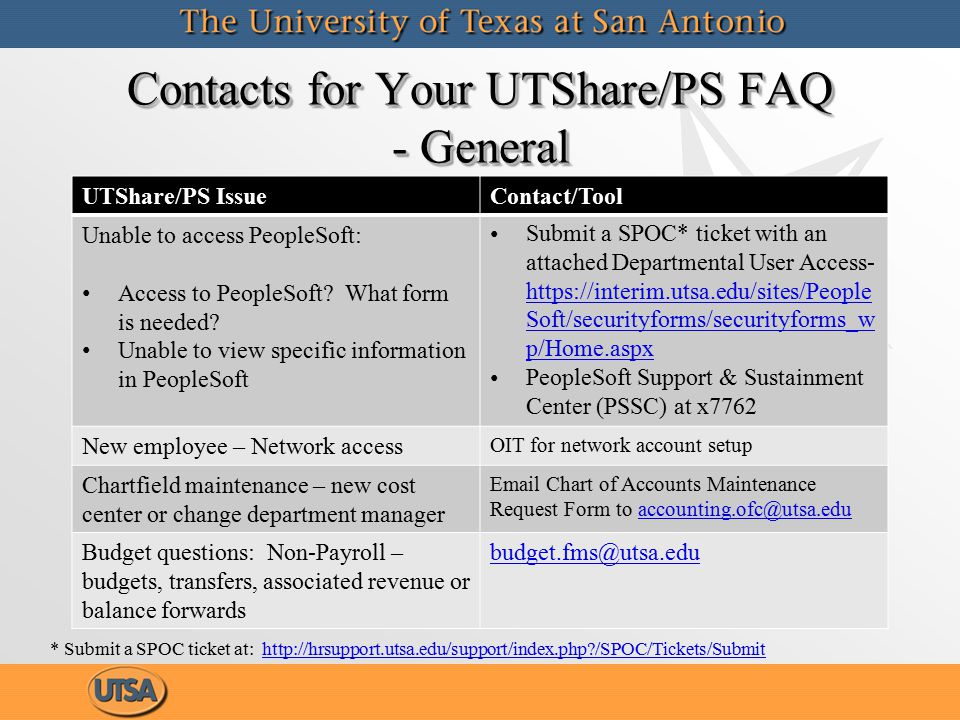 Contacts for Your UTShare/PS FAQ - MFR Related UTShare/PS IssueContact/Tool Monthly Financial Report (MFR) won't run PSSC – submit a SPOC ticket or call the help desk at x7762 MFR-How to read and reconcile itTraining course - Monthly Financial Report Reconciliation using UTShare/PeopleSoft (PS 207) MFR-Travel Authorization questionsDisbursements.travel@utsa.edu MFR-Non-PO Voucher questionsDisbursements.travel@utsa.edu MFR-Expense Report questionsDisbursements.travel@utsa.edu MFR – Other Expense Corrections (excludes encumbrances) Accounting.ofc@utsa.edu Purchase Order/Requisition Issuespurchasing@utsa.edu
