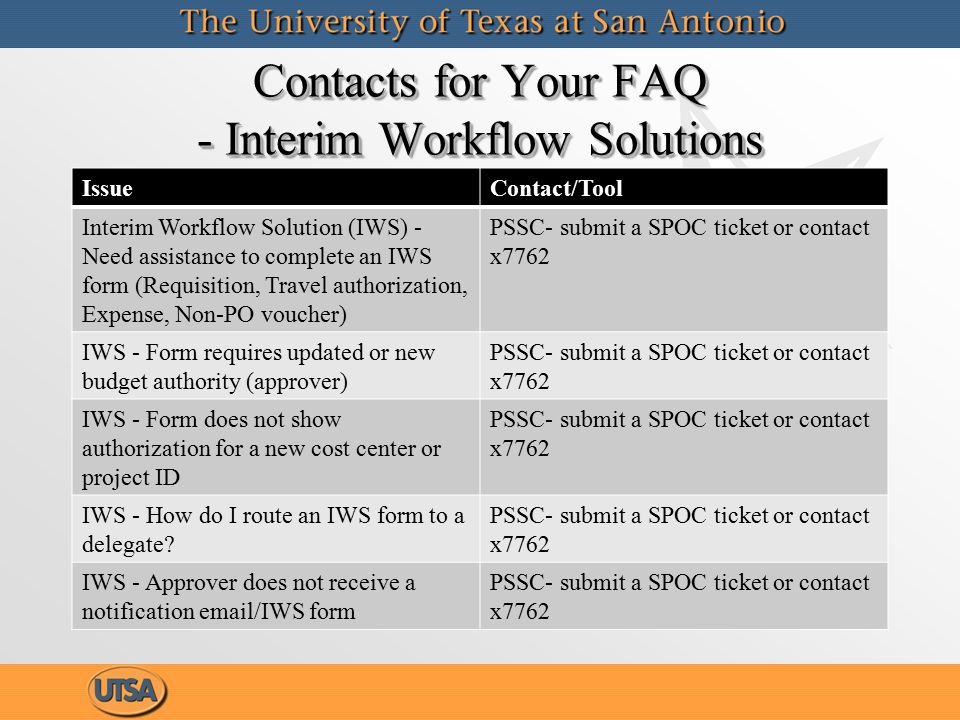 Contacts for Your FAQ - Interim Workflow Solutions IssueContact/Tool Interim Workflow Solution (IWS) - Need assistance to complete an IWS form (Requisition, Travel authorization, Expense, Non-PO voucher) PSSC- submit a SPOC ticket or contact x7762 IWS - Form requires updated or new budget authority (approver) PSSC- submit a SPOC ticket or contact x7762 IWS - Form does not show authorization for a new cost center or project ID PSSC- submit a SPOC ticket or contact x7762 IWS - How do I route an IWS form to a delegate.