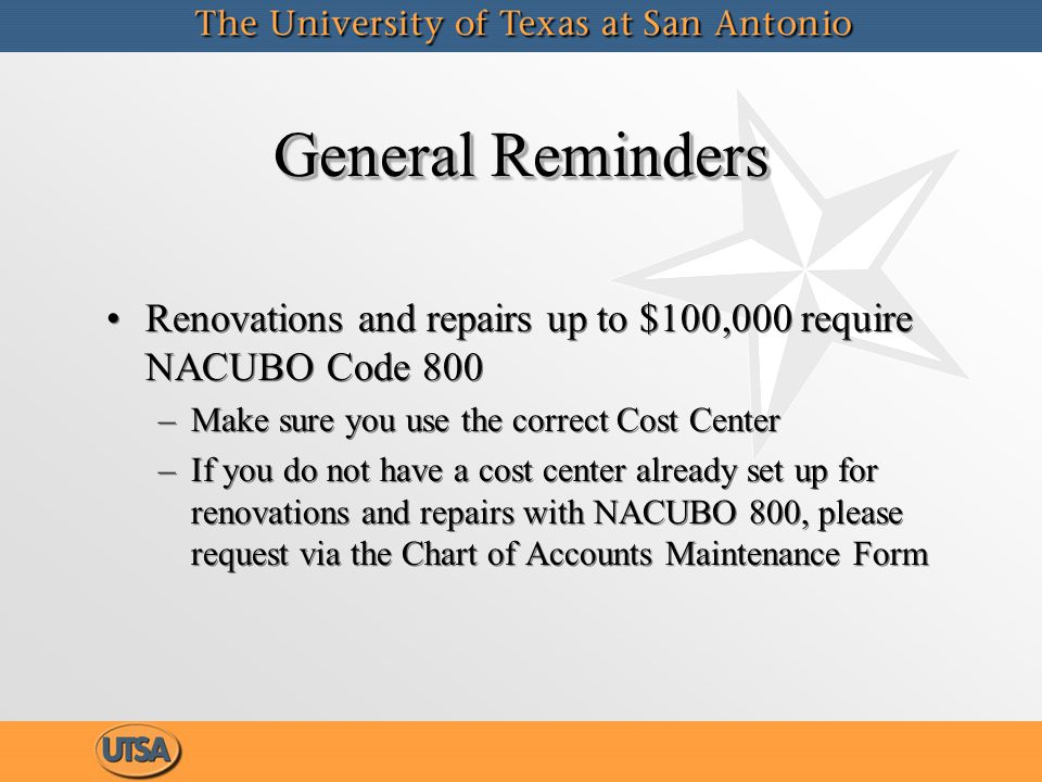 Correction Requests Corrections on non-sponsored cost centers – send to Accounting.ofc@utsa.eduAccounting.ofc@utsa.edu Corrections for sponsored projects – send through your respective RSC Corrections on non-sponsored cost centers – send to Accounting.ofc@utsa.eduAccounting.ofc@utsa.edu Corrections for sponsored projects – send through your respective RSC