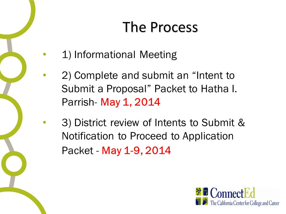 The Process 1) Informational Meeting 2) Complete and submit an Intent to Submit a Proposal Packet to Hatha I.
