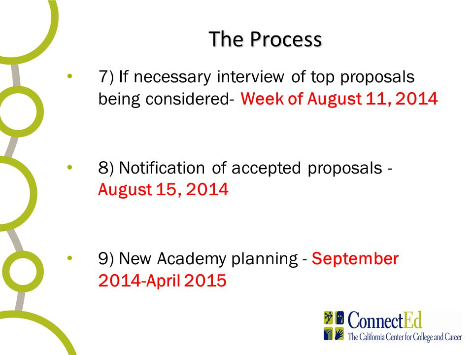 The Process 7) If necessary interview of top proposals being considered- Week of August 11, 2014 8) Notification of accepted proposals - August 15, 20