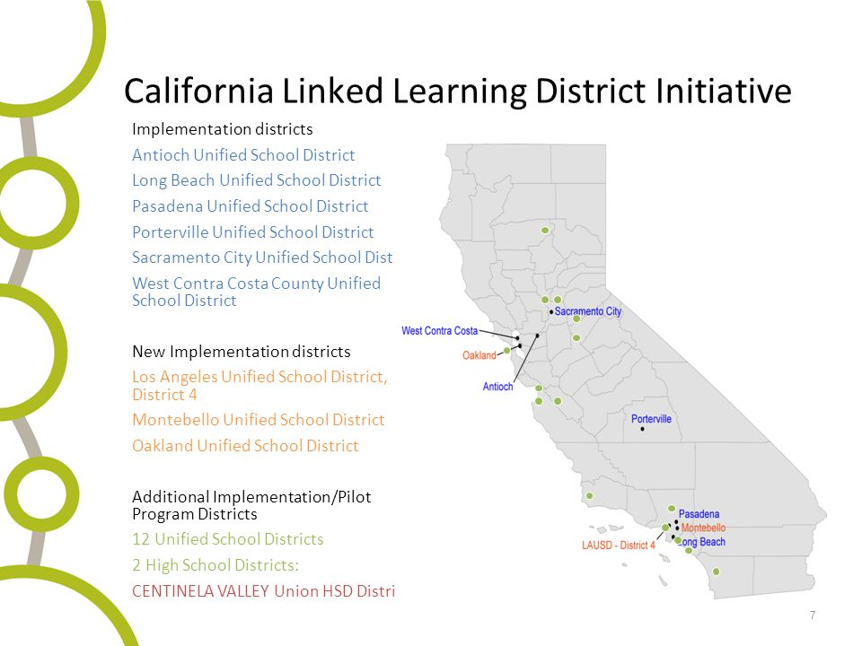 7 California Linked Learning District Initiative Implementation districts Antioch Unified School District Long Beach Unified School District Pasadena