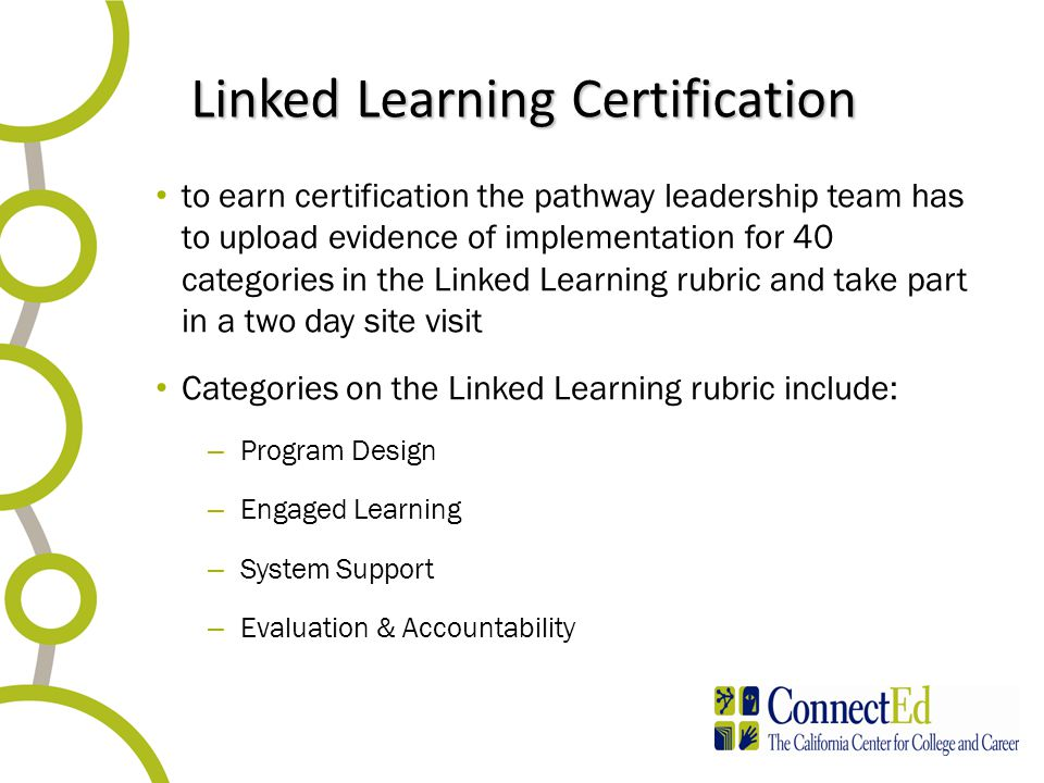 Linked Learning Certification to earn certification the pathway leadership team has to upload evidence of implementation for 40 categories in the Linked Learning rubric and take part in a two day site visit Categories on the Linked Learning rubric include: – Program Design – Engaged Learning – System Support – Evaluation & Accountability