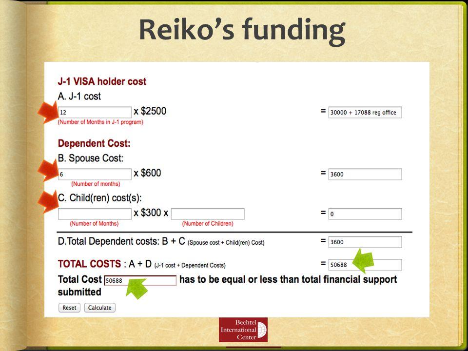 Reiko's funding