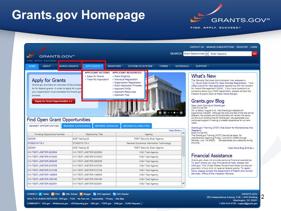 12 Grants.gov Homepage