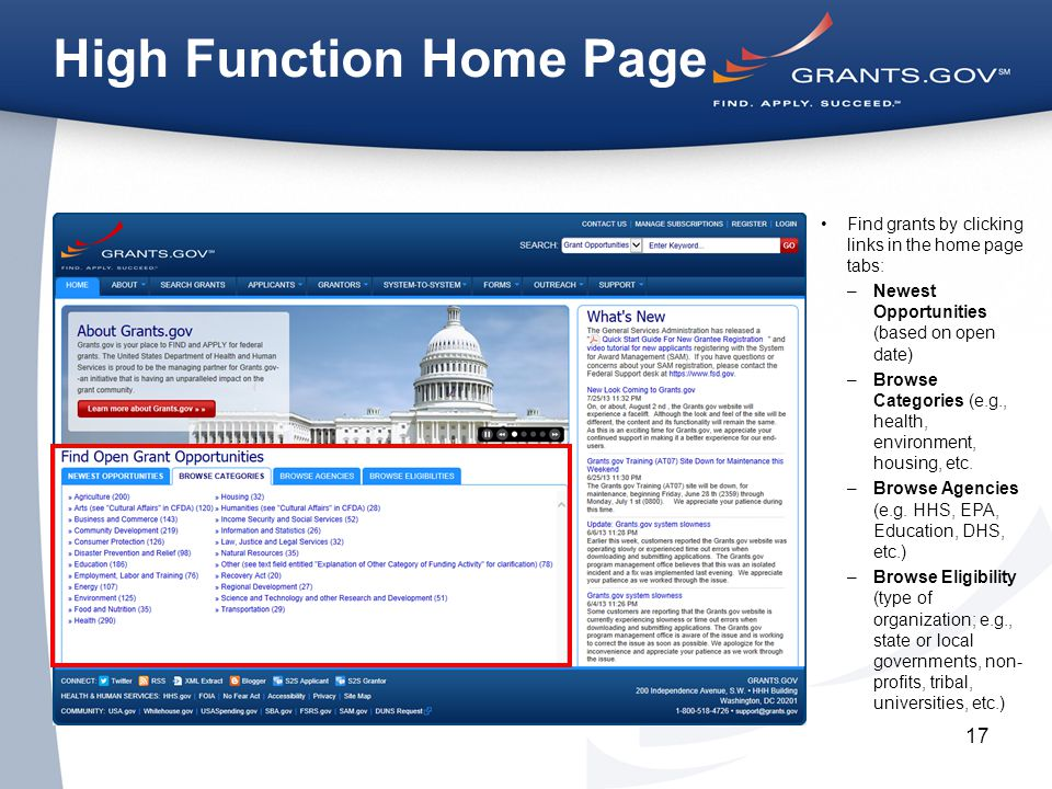 17 High Function Home Page Find grants by clicking links in the home page tabs: –Newest Opportunities (based on open date) –Browse Categories (e.g., health, environment, housing, etc.
