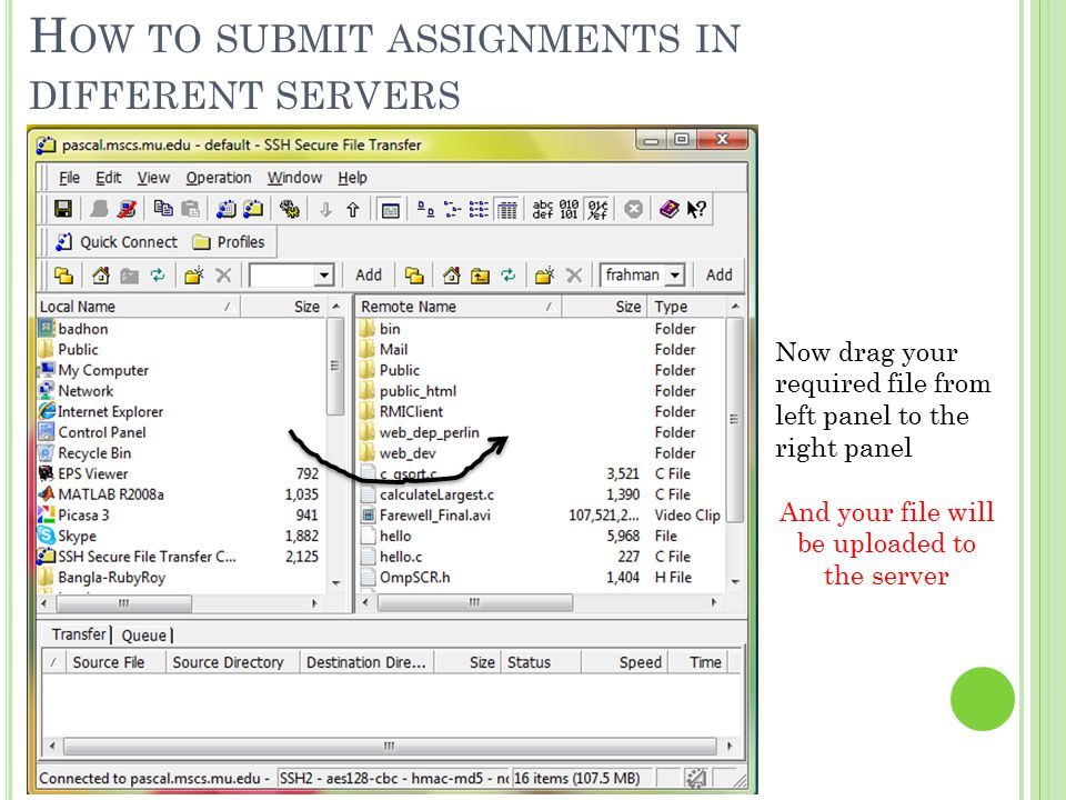 Now drag your required file from left panel to the right panel And your file will be uploaded to the server