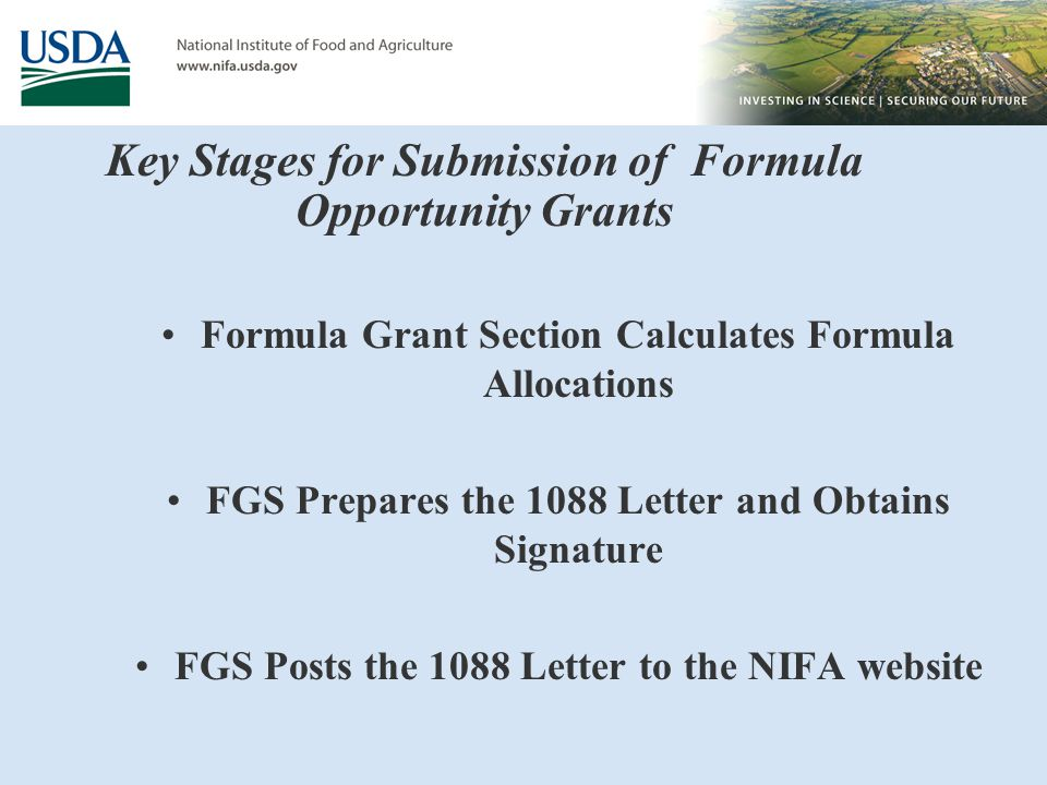 Key Stages for Submission of Formula Opportunity Grants Formula Grant Section Calculates Formula Allocations FGS Prepares the 1088 Letter and Obtains Signature FGS Posts the 1088 Letter to the NIFA website