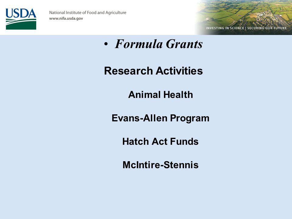 Research Activities Animal Health Evans-Allen Program Hatch Act Funds McIntire-Stennis Formula Grants