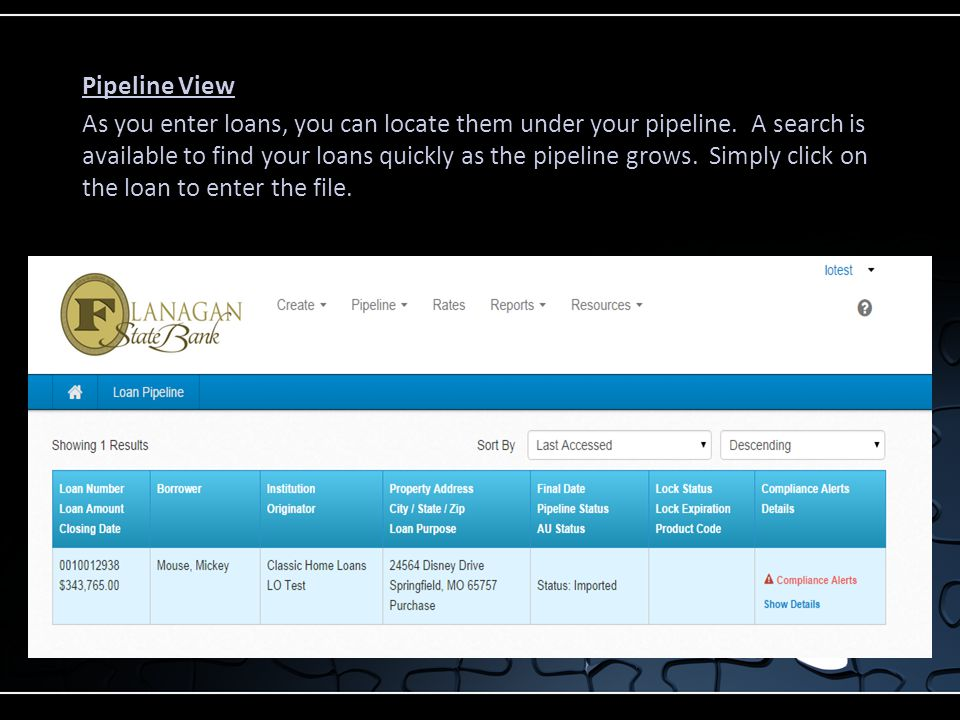 Pipeline View As you enter loans, you can locate them under your pipeline.