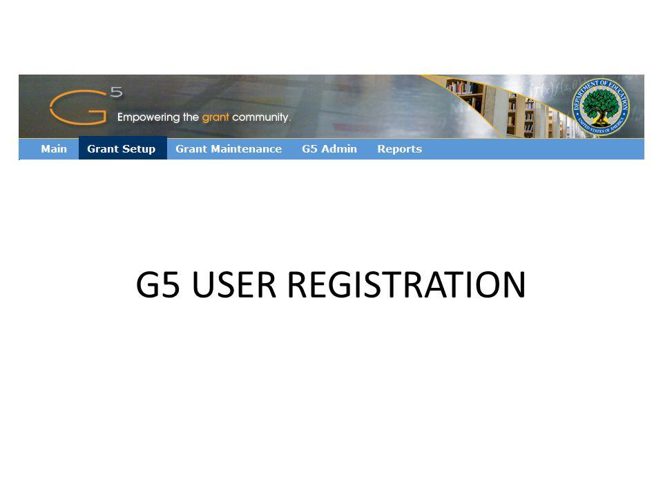 G5 USER REGISTRATION