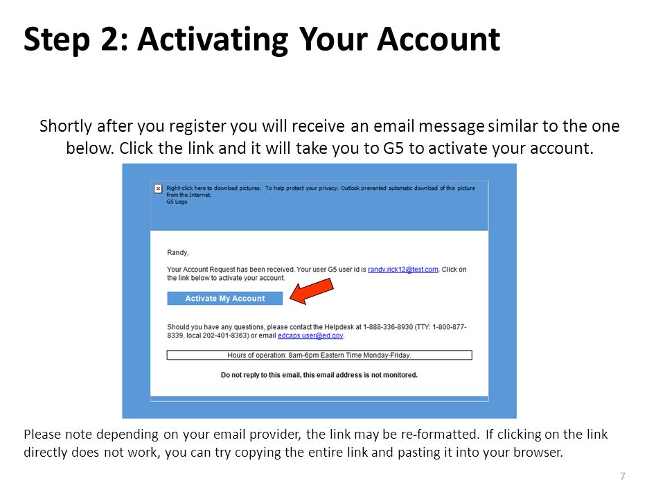 Shortly after you register you will receive an email message similar to the one below.
