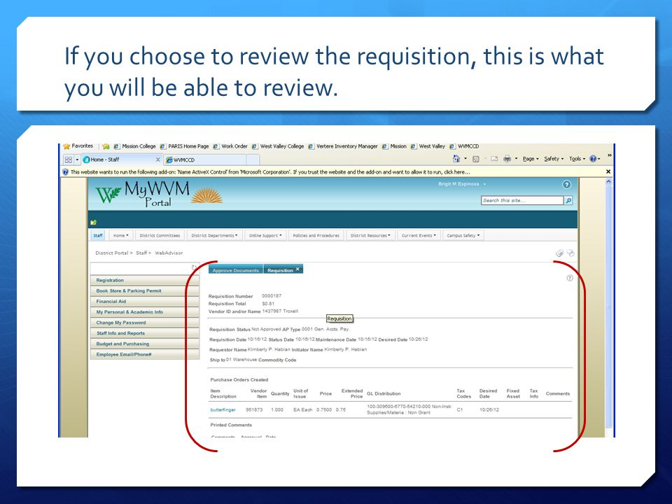 Click on the Budget and Purchasing tab, then click on approve documents.
