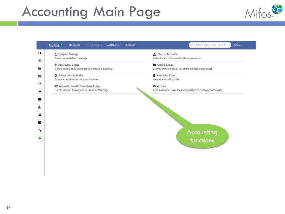 12 Accounting Main Page Accounting functions