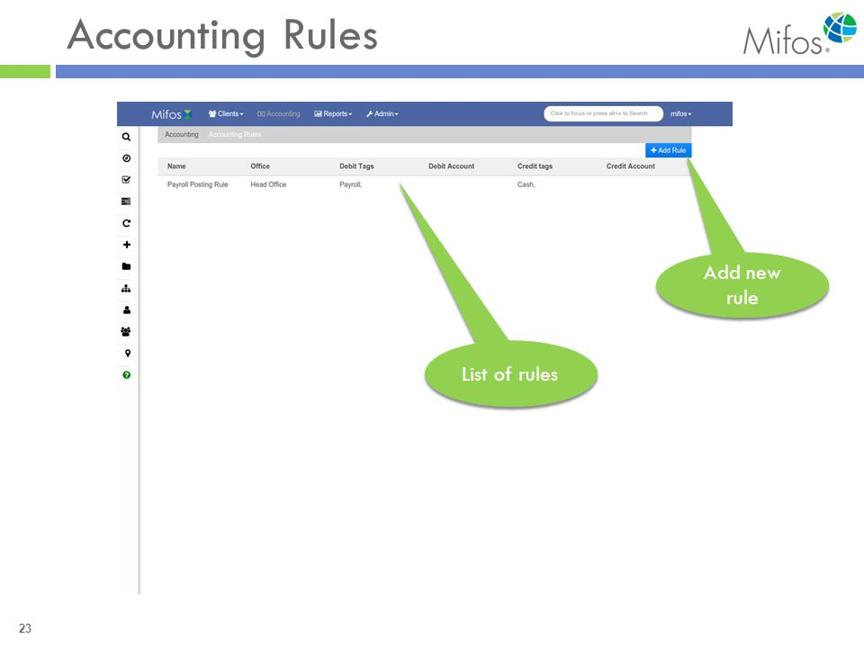 23 Accounting Rules Add new rule List of rules