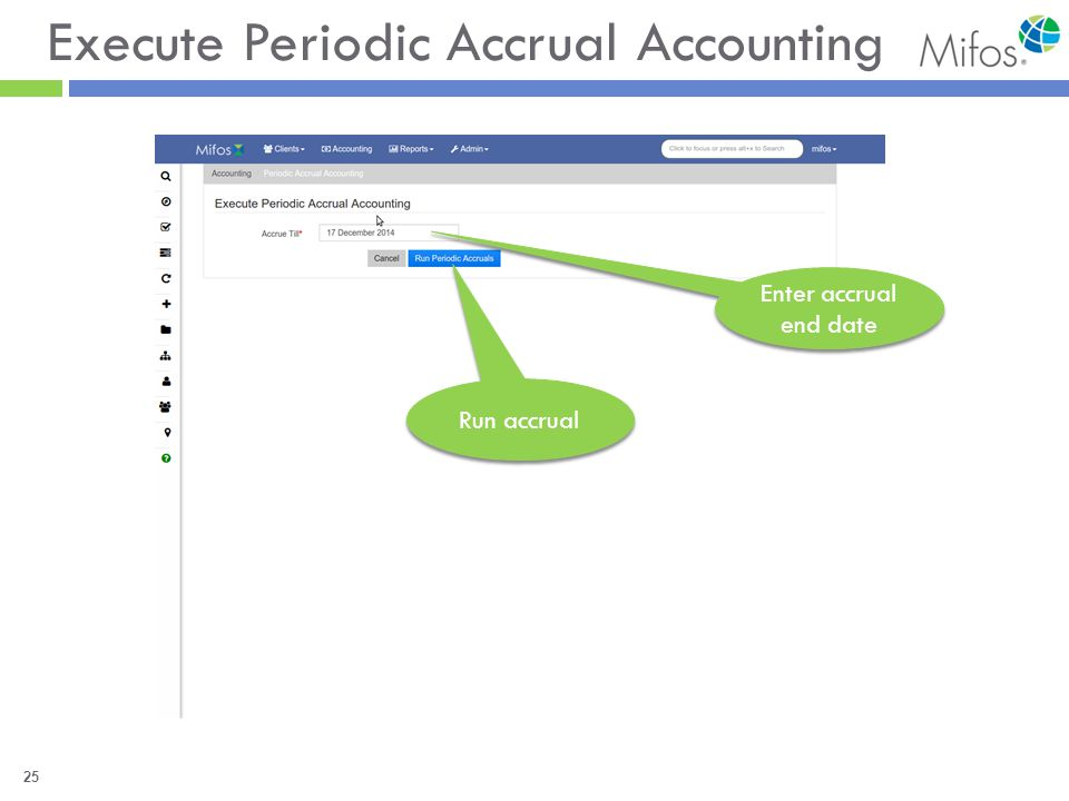 25 Execute Periodic Accrual Accounting Enter accrual end date Run accrual
