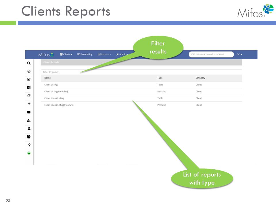 28 Clients Reports Filter results List of reports with type