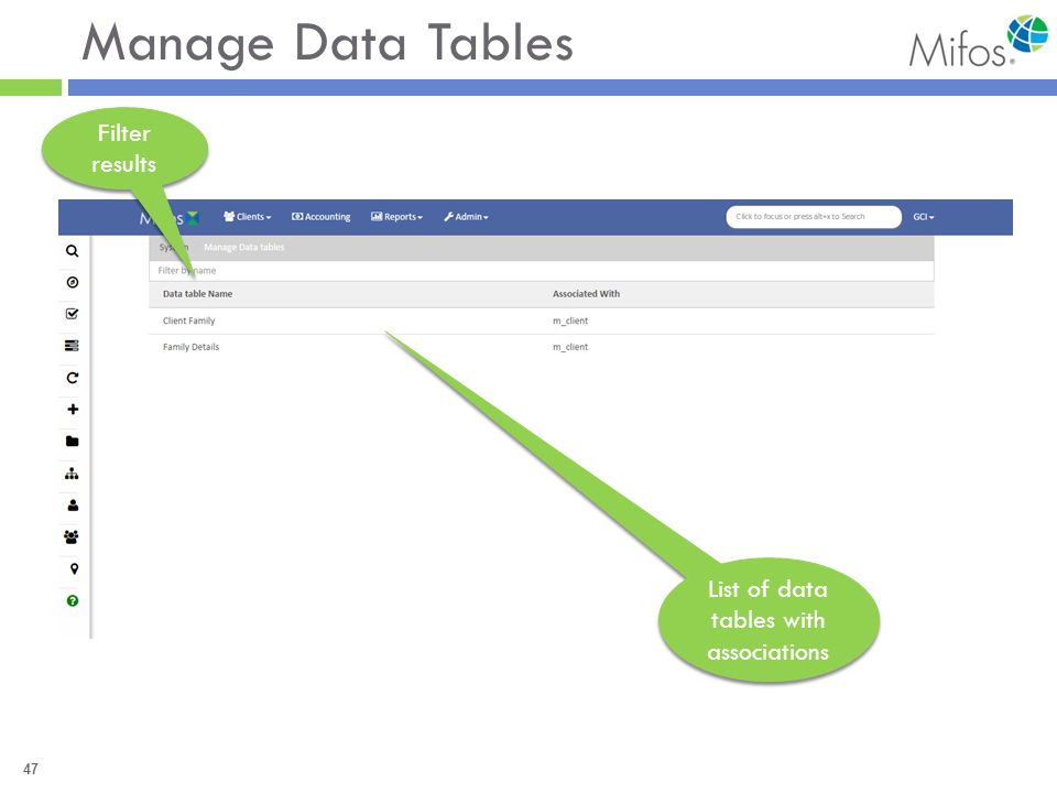 47 Manage Data Tables Filter results List of data tables with associations