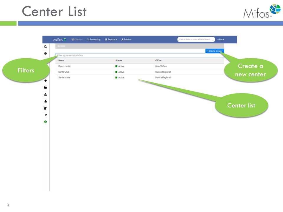 6 Center List Filters Center list Create a new center