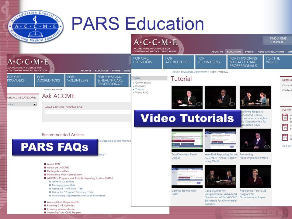 PARS Education Video Tutorials PARS FAQs
