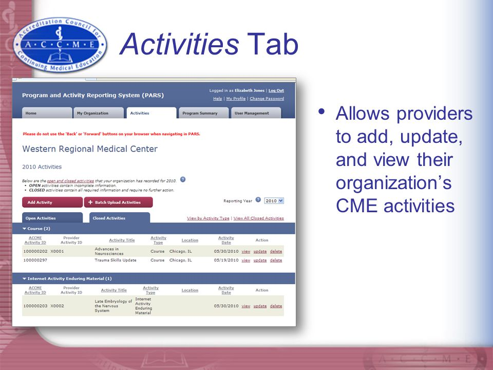 Add activities one at a time, using the web-based entry form…
