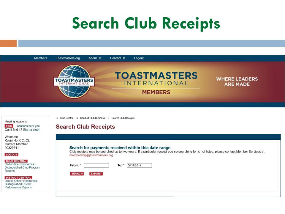 Search Club Receipts
